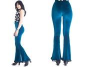 VIXEN velvet bell bottoms hippie festival 70s flare pants // pom pom trim// //CUSTOM LENGTH & color //