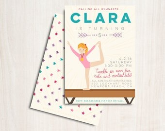 Gymnastics Birthday Invite - Customized Gymnast Party Invitation - Dance - Party Supplies