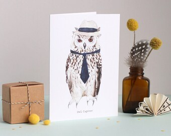 Owl Capone Greetings Card