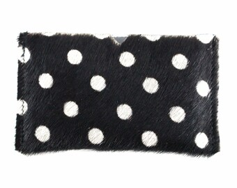 NEW! Polka Dot Calf Hair Leather Card Holder | Black + White | Hair On | Business Card Holder | Card Case | Handmade