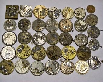 34 vintage mens wrist watch movements parts repair steampunk E-386