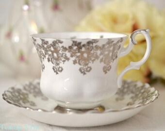 ON SALE Royal Albert Silver Anniversary Teacup and Saucer Set, 25th Wedding Anniversary, English Bone China Tea Cup Set,  ca. 1960-1970