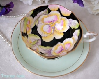 ON SALE Paragon Pale Green And Black Teacup and Saucer With Pansy Flowers, English Bone China Tea cup Set, Cabinet Teacup, ca. 1952-1960