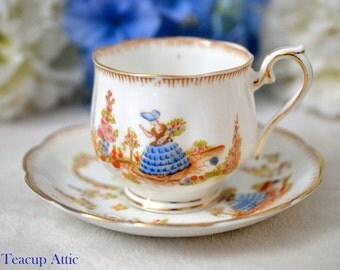 Royal Albert Crown China Dainty Dinah Teacup and Saucer, English Bone China Tea Cup Set, ca. 1927-1935
