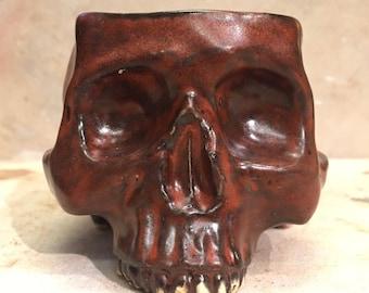 Ceramic Skull Mug Mahogany Red