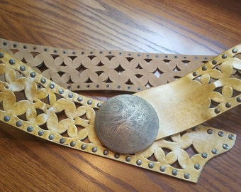 Vintage Wide Leather Belt Cut Out Large Engraved Brass Buckle Studded Leather Belt Hippie Belt Morroccan