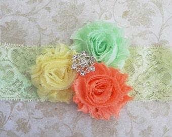 Shabby Baby Headband,Mint Green, Yellow, Coral Lace Headband, Girls Headband, Shabby Chic Headband, Infant Headband, Rhinestone Lace