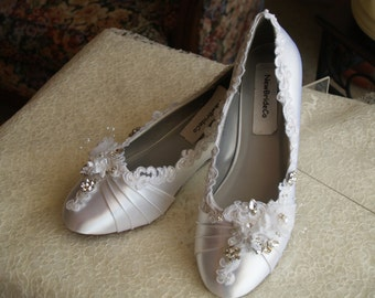 """Ready to Ship Size 9 White Comfortable Wedding Shoes, BRIDES LOW Wedge 1"""" Beautiful Venice Lace & Jewels,Satin Wedge Pump Low Heels,Crystals"""