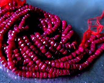 Rich Red Genuine Ruby Gemstone Rondelles opaque, Choose your length