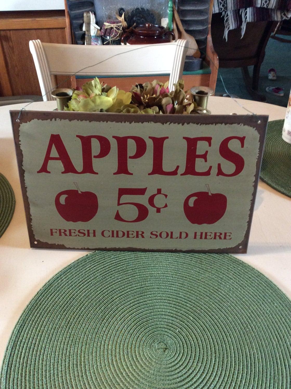apple sign vintage home decor metal