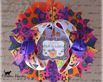 Halloween Outfit Accessories, Halloween Hair Bows, Orange Purple Pink Over the Top Bow