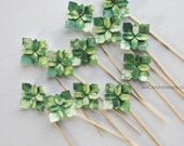 shamrock . 12 origami flower cake toppers . Ireland wedding cake toppers . Irish party cake picks -shamrock mix