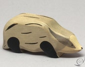 Toy Badger wood grey black | Size: 10,0 x 4,4 x 2,5 cm (bxhxs)  ca. 39,0 gr.
