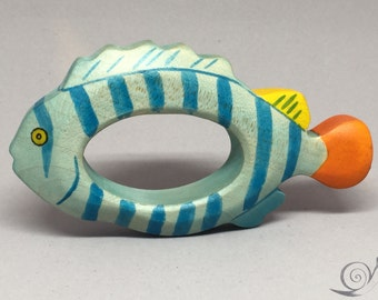 Toy Fish Gripping ring Tropical fish Wooden colorful | Size: 12,0 x 6,0 x 2,0 cm (bxhxs) approx. 40 gr.