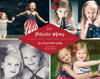 Patriotic Mini Session Template - 5x7 - Photoshop Template for Photographers - 4th of July Mini Session