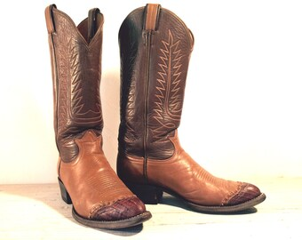 Vintage Cowboy Boots, Tony Lama Black Label Brown and Tan All Leather, Lizard Skin Toe Wingtips, Men's size 6 C / Women 7.5
