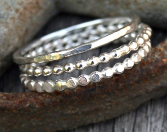 Sterling Silver Stacking Ring Set - Three Stack Ring Set