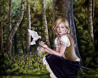 Grimm Fairy Tale Fantasy Girl with Dove in Forest Surreal A4 Art Print