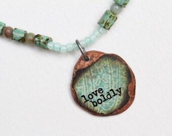 Love Mixed Media Pendant Necklace Inspirational Mixed Media Jewelry Blue Bead Necklace Short Boho Pendant Hippie Necklace Seed Bead