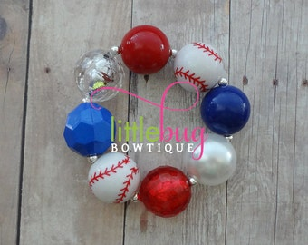 Red White Blue Baseball American Chunky Bead Bracelet M2M Necklace Photo Prop Newborns, Toddlers, Girls, Babies
