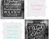 18x18 Wedding Decor & Reception Decor Signs Set of 2 -- Bundle Set Group-- Painted Wooden Signs