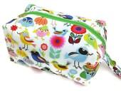 Knitting Project Bag - Small, Zippered Box Bag, Multi Birds, Zippered Project Bag, Knitting Bag, Crochet Bag, Spindle Bag