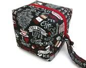 KNITTING PROJECT BAG - Sock Cube, Zippered Box Bag, I Love Coffee, Zippered Project Bag, Knitting Bag, Crochet, Sock Bag, Hat Bag