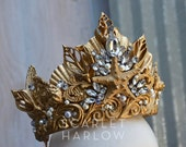 Mermaid Crown/Tiara - gold.  Costume - photoshoot - dance -theatre - cosplay - fantasy - mermaid party - beach  - rave - pageant.