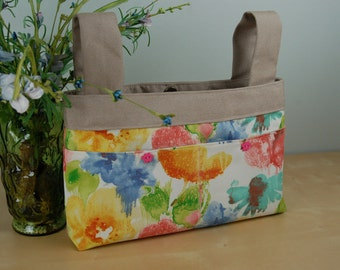 Walker Bag: Beautiful watercolor inspired floral print with linen colored lining. Perfect pick me up for winter doldrums.