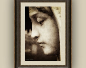 In Mourning Angel Blessed Virgin Mary Cemetery Statue Memorial Art Sepia Fine Art Photography Print