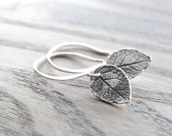 Leaf Earrings Nature earrings Tiny Leaf Earrings Silver Leaves Earrings Sterling Silver Leaves Jewelry Dainty Everyday Earrings