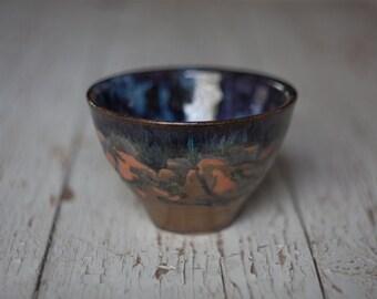 bronze glazed tea bowl wheel thrown pottery
