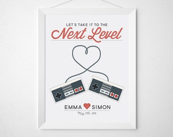 Gamer Wedding Print - Custom personalized art for couples - Gaming geek video game controllers - newlywed engagement anniversary gift level