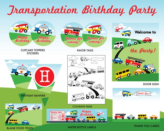 INSTANT DOWNLOAD Transportation Birthday Party Printables