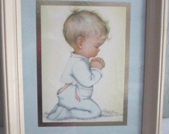 Coby Wall Hanging Picture of Little Boy Saying Prayers before Bedtime