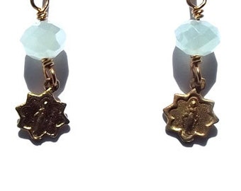 Bright Bronze Tiny Miraculous Medal Catholic Earrings Jewelry Wire wrapped Heirloom Wirewrapped