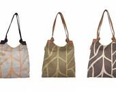Cotton handbag with leather straps, hobo bag, silkscreen bag, nature bag, handmade bag