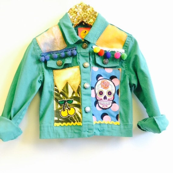 JUMP 3-4 Years Coloured Corduroy Denim Jacket Upcycled with African fabric Pom Pom Trim