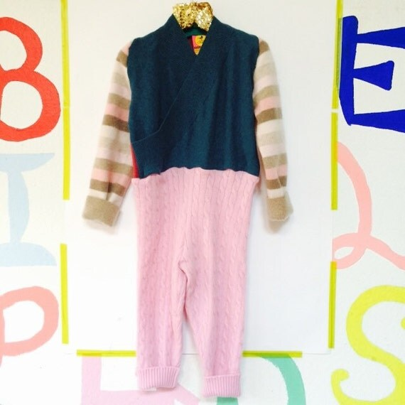 TIPTOE 3-4 Years Kids Cashmere Suit Childrens Onesie Jumpsuit One Piece Jumper Romper Playsuit Upcycled Cashmere Unisex