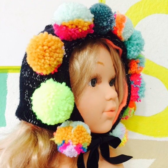 ARTIE 6-12m Baby Babies Bonnet in Patchwork Cashmere and Wool Mohican Pom Poms Cashmere Lined Neon Ribbon Bobble Hat Unisex
