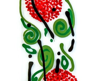 Red flowers, with green leaf and black swirls