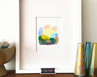 Peaceful Abstract Landscape art print (tiny size)