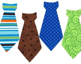 4 Boys tie appliques iron on DIY boy baby shower appliques