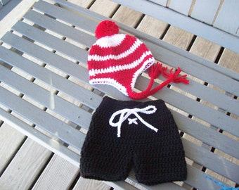Hockey,Sports,Hat,Breezers,Babies,Infants,Newborn-3 Months,Photos,Gift,Crocheted,Costume,Team Colors