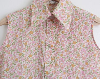 Vtg 60s Summery Pastel Ditsy Floral Sleeveless Blouse Miss Holly • Vintage Kmart Micro Floral Pointelle Button Up Collared Shirt - M