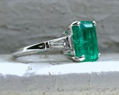 Classic Vintage 14K White Gold Natural Columbian Emerald Engagement Ring with Baguette Diamonds and GIA certificate- 3.54ct.