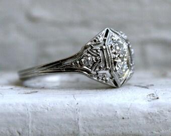 Vintage Filigree Platinum Diamond Cluster Engagement Ring - 0.28ct.