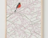 Fine Art Print.  Robin in Spring with Cherry Blossoms.  February 12, 2014.