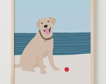 Fine Art Print.  Dog at Beach.  May 22, 2016.