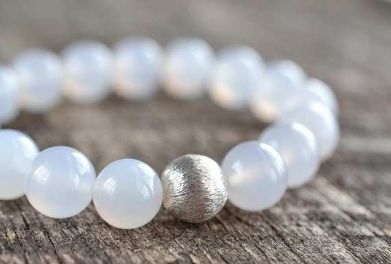 10mm White Agate Bracelet, Gemstone Bracelet, Beaded Bracelet, Sterling Silver Stretch Bracelet, Mens Womens Stone Jewelry, Gifts